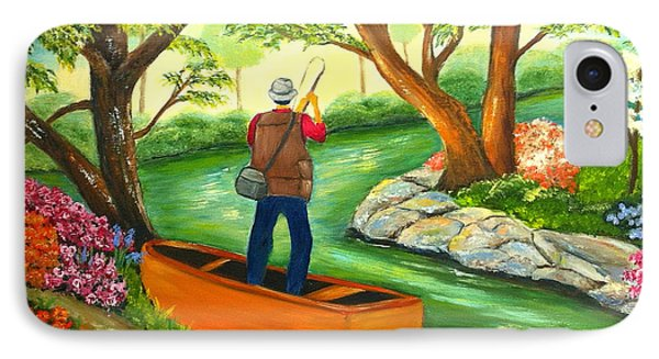 IPhone Case featuring the painting Gone Fishing by Shelia Kempf