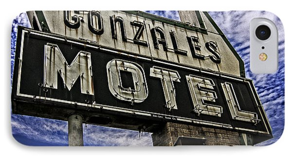 IPhone Case featuring the photograph Gonzales Motel In Color by Andy Crawford