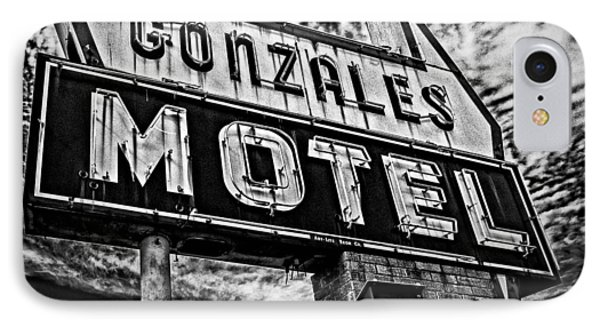 IPhone Case featuring the photograph Gonzales Motel Sign by Andy Crawford