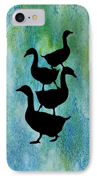 Goose Pile On Aqua IPhone Case by Jenny Armitage