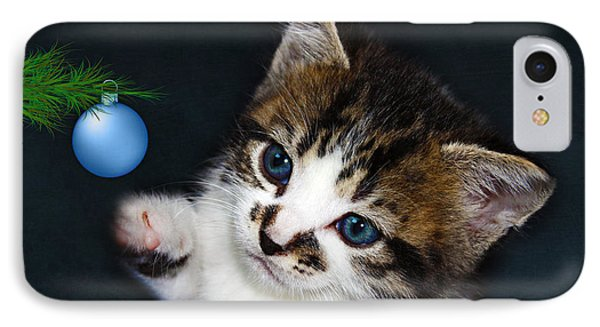 Gorgeous Christmas Kitten IPhone Case by Terri Waters