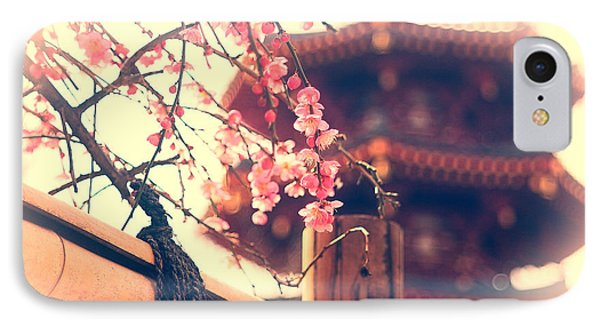 Gorgeous Pagoda And Plum Blossoms With Bamboo Fence IPhone Case