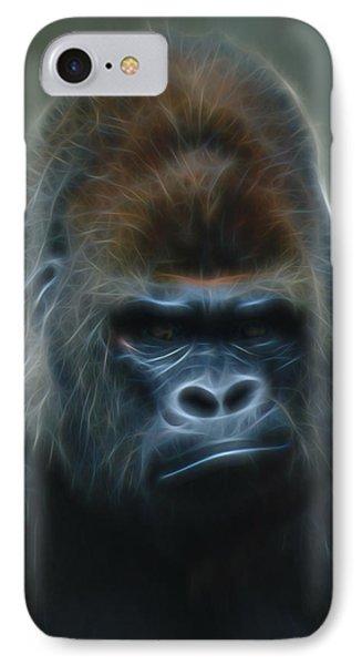 Gorilla Digital Art IPhone Case by Ernie Echols