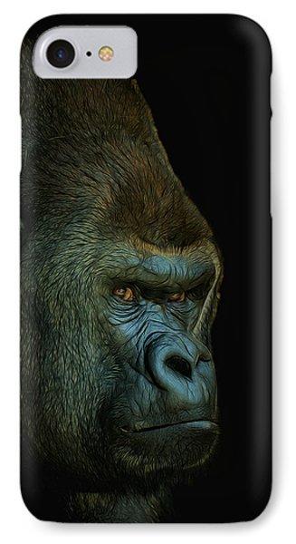 Gorilla Portrait Digital Art IPhone Case by Ernie Echols