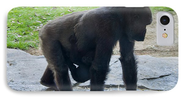 Gorilla With Baby Holding On IPhone Case by Chris Flees