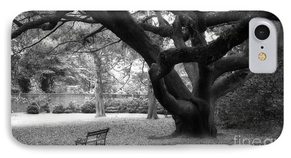 Gothic Surreal Black And White South Carolina Angel Oak Trees Park Landscape IPhone Case by Kathy Fornal