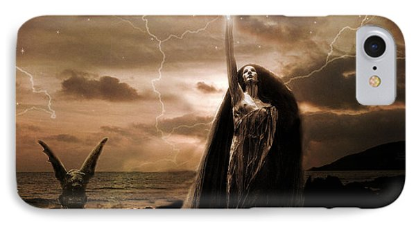 Gothic Surreal Fantasy Dark Haunting Female Figure In Black Cape With Gargoyle IPhone Case