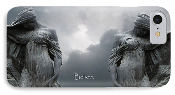 Gothic Surreal Female Figures Haunting Inspirational Spiritual Art - Believe IPhone Case by Kathy Fornal