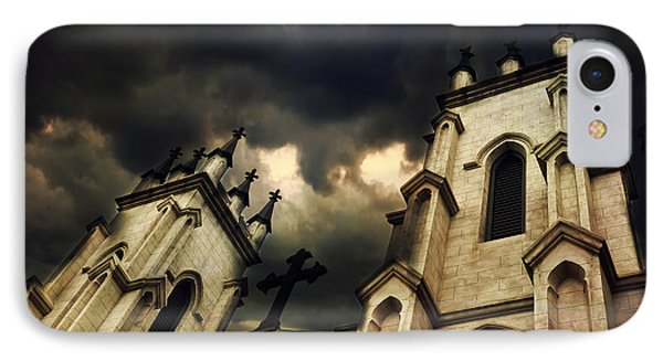 Gothic Surreal Haunting Church Steeple With Cross - Dark Gothic Church Black Spooky Midnight Sky IPhone Case by Kathy Fornal