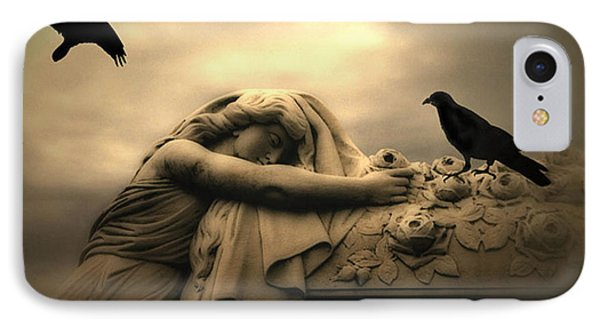 Gothic Surreal Haunting Female Cemetery Draped Over Coffin With Black Ravens IPhone Case by Kathy Fornal