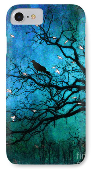 Gothic Surreal Nature Ravens Crow And Birds IPhone Case by Kathy Fornal