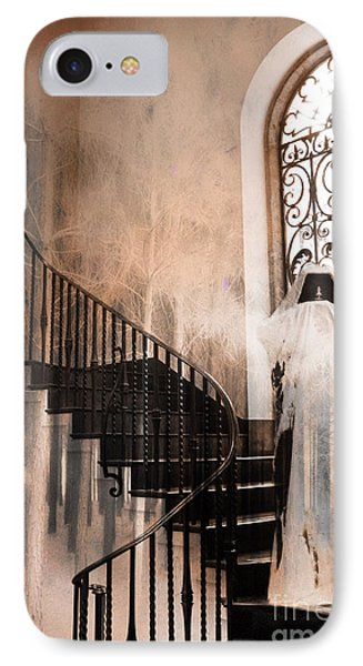 Gothic Surreal Spooky Grim Reaper On Steps Phone Case by Kathy Fornal