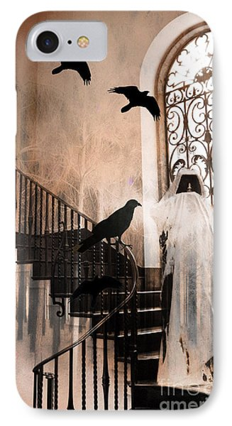 Gothic Grim Reaper With Ravens Crows - Spooky Haunting Surreal Gothic Art IPhone Case by Kathy Fornal