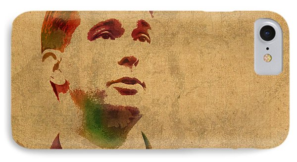 Governor Scott Walker Watercolor Portrait On Worn Distressed Canvas IPhone Case by Design Turnpike