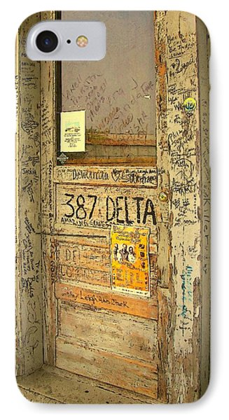 Graffiti Door - Ground Zero Blues Club Ms Delta IPhone Case by Rebecca Korpita