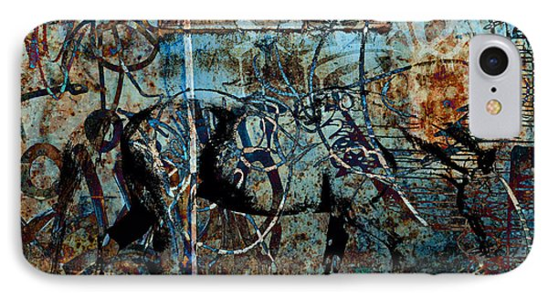 Graffiti Horse Blues Phone Case by Judy Wood