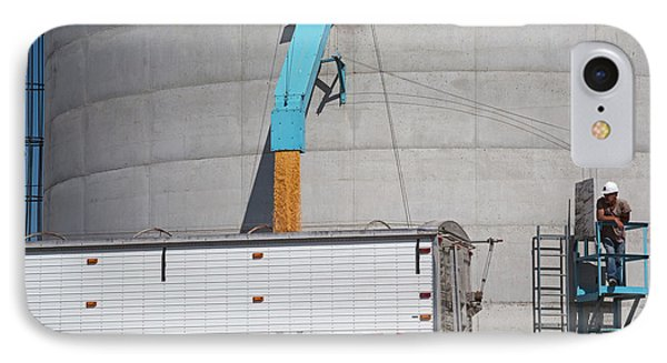 Grain Truck Being Filled At A Silo IPhone Case by Jim West