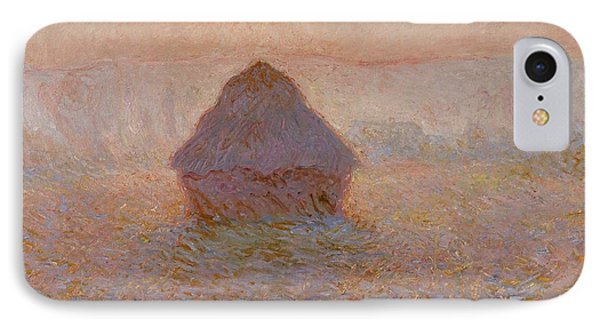 Grainstack  Sun In The Mist IPhone Case by Claude Monet