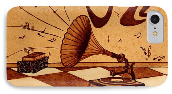 Gramophone Playing Jazz Music Painting With Coffee Phone Case by Georgeta  Blanaru