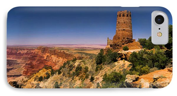 Grand Canyon Desert View Watchtower Panorama IPhone Case by Christopher Arndt
