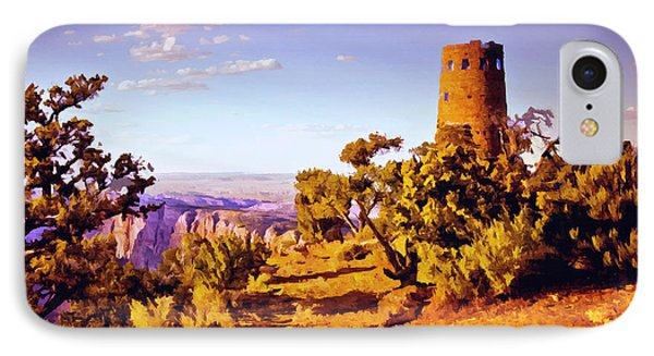 IPhone Case featuring the painting Grand Canyon National Park Golden Hour Watchtower by Bob and Nadine Johnston