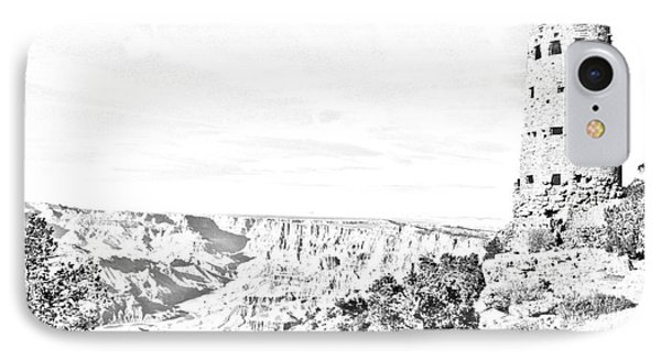 Grand Canyon National Park Mary Colter Designed Desert View Watchtower Black And White Line Art Phone Case by Shawn O'Brien