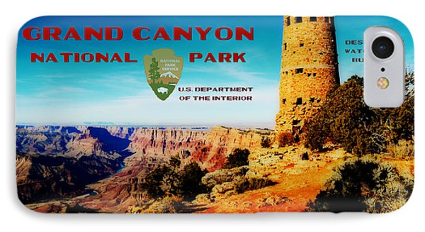 Grand Canyon National Park Poster Desert View Watchtower Retro Future Phone Case by Shawn O'Brien