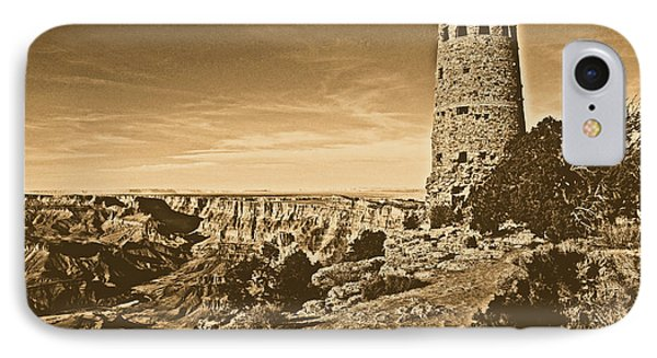 Grand Canyon National Park South Rim Mary Colter Designed Desert View Watchtower Rustic Phone Case by Shawn O'Brien