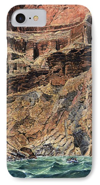 Grand Canyon Cliff And Rafts IPhone Case by Don  Langeneckert
