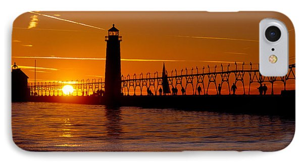 Grand Haven Lighthouse At Sunset, Grand IPhone Case