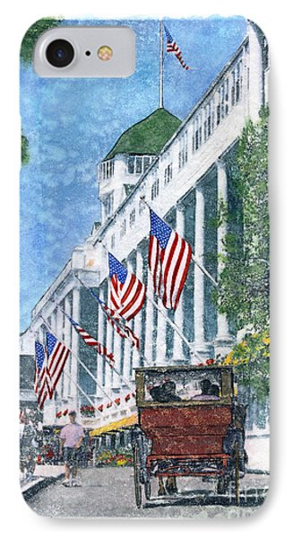 Grand Hotel Carriage-watercolor IPhone Case by Candace West