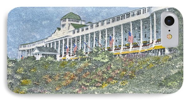 Grand Hotel - Watercolor IPhone Case by Candace West