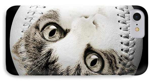 Grand Kitty Cuteness Baseball Square B W Phone Case by Andee Design