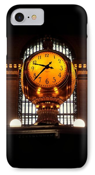 Grand Old Clock At Grand Central Station - Front IPhone Case by Miriam Danar