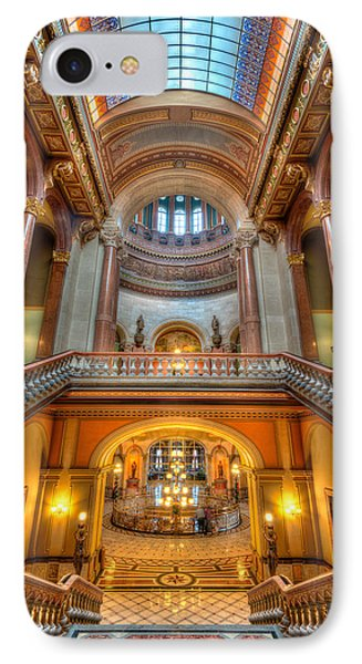 Grand Staircase Illinois State Capitol IPhone Case by Steve Gadomski