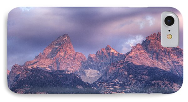 IPhone Case featuring the photograph Grand Teton In Morning Clouds by Alan Vance Ley