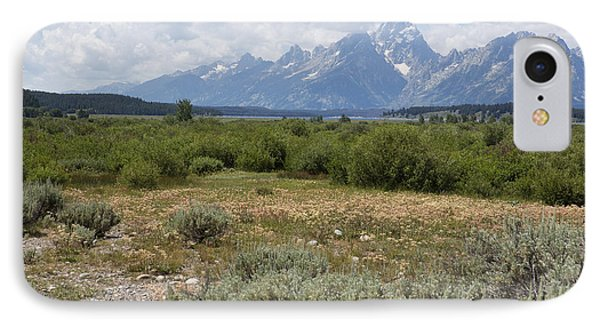 IPhone Case featuring the photograph Grand Tetons From Willow Flats by Belinda Greb