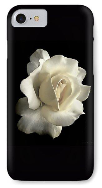 Grandeur Ivory Rose Flower IPhone Case by Jennie Marie Schell