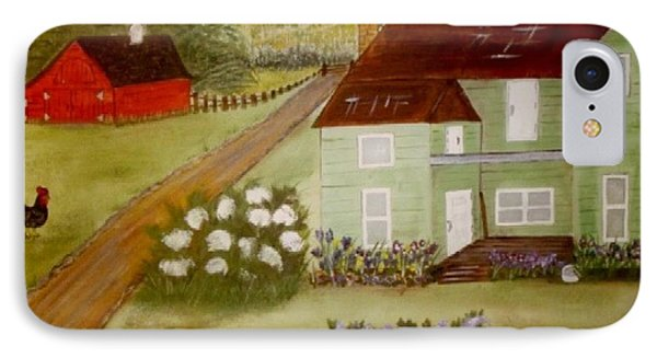 IPhone Case featuring the painting Grandmas Farm by Cindy Micklos