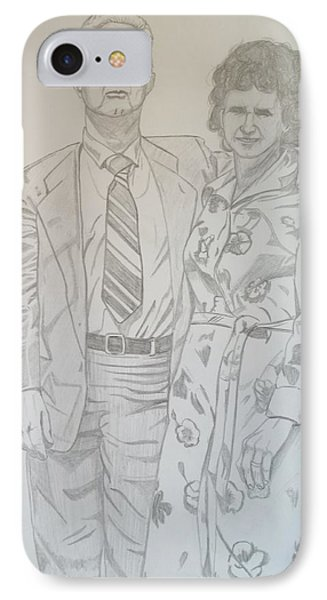 IPhone Case featuring the drawing Grandparents Of Late 1970s by Justin Moore