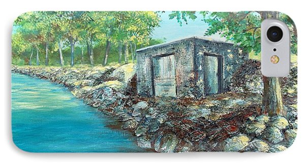 IPhone Case featuring the painting Grandpa's Boathouse by Susan DeLain