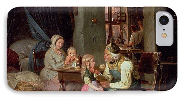 Grandpas Favourite Oil On Canvas IPhone Case by Friedrich Edouard Meyerheim