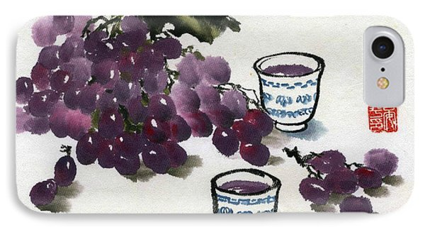 IPhone Case featuring the painting Grape And Wine by Ping Yan