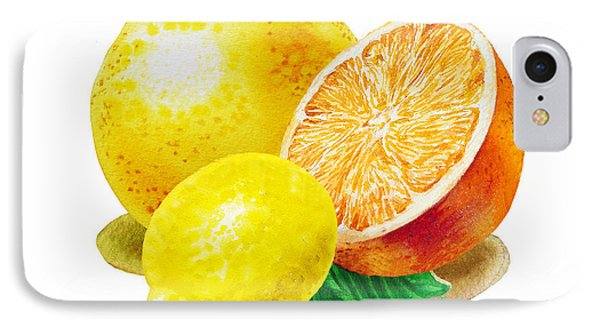 IPhone 7 Case featuring the painting Grapefruit Lemon Orange by Irina Sztukowski