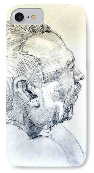 IPhone Case featuring the drawing Graphite Portrait Sketch Of A Man In Profile by Greta Corens