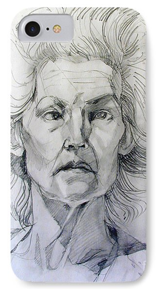 IPhone Case featuring the drawing Graphite Portrait Sketch Of A Well Known Cross Eyed Model by Greta Corens