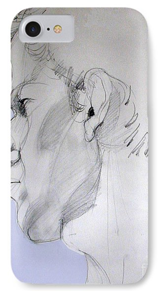IPhone Case featuring the drawing Graphite Portrait Sketch Of A Young Man In Profile by Greta Corens