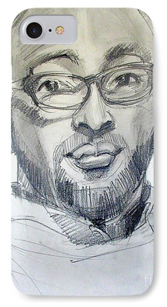 IPhone Case featuring the drawing Graphite Portrait Sketch Of A Young Man With Glasses by Greta Corens