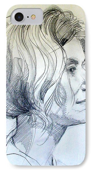 IPhone Case featuring the drawing Portrait Drawing Of A Woman In Profile by Greta Corens