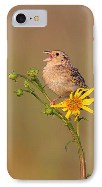 Grasshopper Sparrow Singing IPhone Case by Daniel Behm
